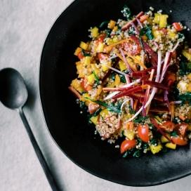 vegan quinoa spinach salad